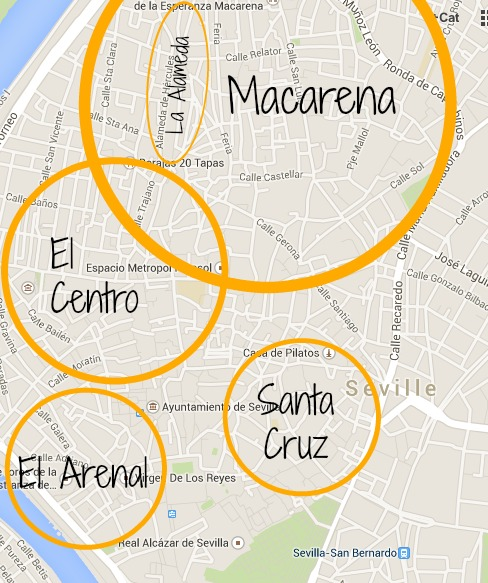 Central Seville neighborhood map