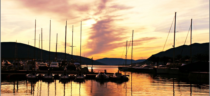sunset over porto montenegro