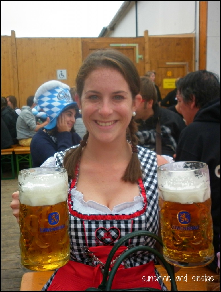 dressed in a dirndl at oktoberfest