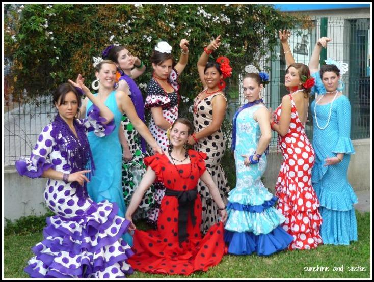 Guiris dressed up as flamencas