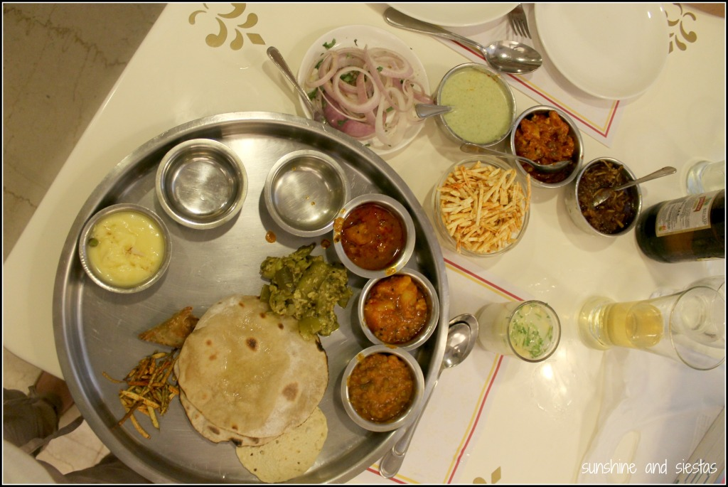 eating a thalis in India