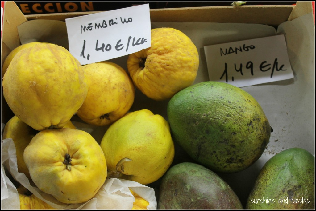 Winter fruit in Spain quince membillo and mangoes